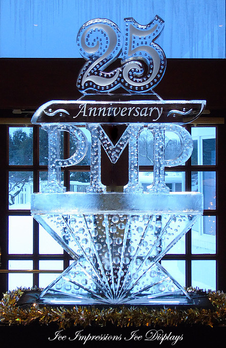 By Ice Impressions. www.ice-impressions.com, Anniversary Ice Sculpture, 25th Anniversary, 25 ice Sculpture, Ice Impressions Custom Ice Sculptures, Ice Sculpture, ice carving, ice carvings, custom ice sculpture.