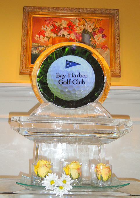 By Ice Impressions, Ice Impressions Custom Three Tier Ice Display, Ice Sculptures, Ice Carvings, Golf Club Ice Sculpture, Ice Carving, Ice Sculpture, Golf Tournament Awards Event.