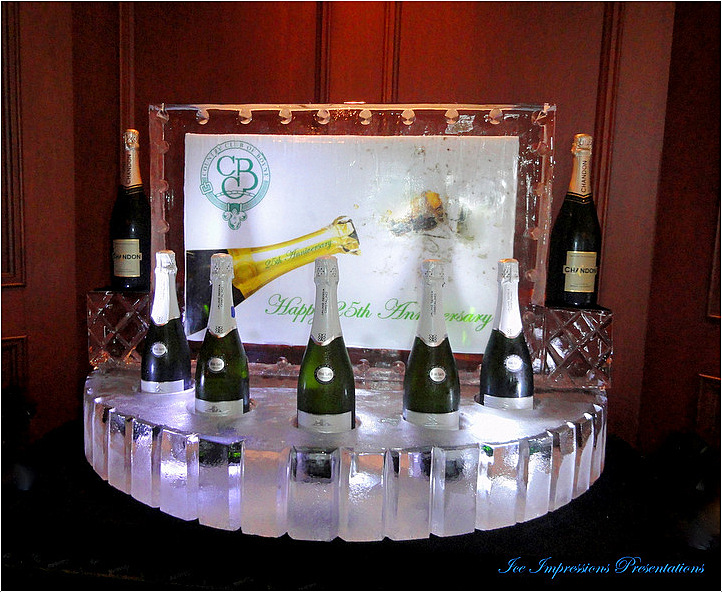 By Ice Impressions, ice-impressions.com, ice impressions custom champagne bottle chiller ice sculpture, ice sculpture, ice carving.