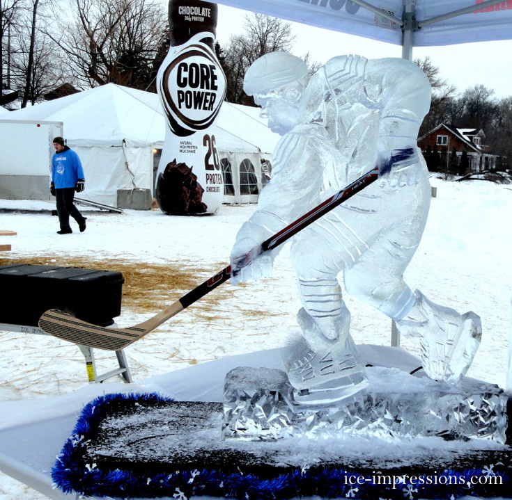 Hockey Player Ice Sculpture, Ice Impressions Ice Sculptures, Ice Sculptures, Ice Carvings, ice-impressions.com