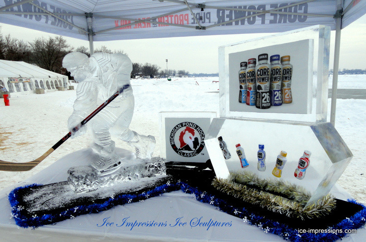 Ice Impressions Custom Product Promotion Ice Sculpture Display Presentations, Ice Impressions Ice Sculptures, Ice Sculptures, Pond Hockey, Pond Hockey Ice Sculptures, Hockey Player Ice Sculpture, Hockey Player Ice Carving, Michigan Pond Hockey, Michigan ice, ice sculptures Michigan, Detroit ice sculptures, Detroit Ice Carvings