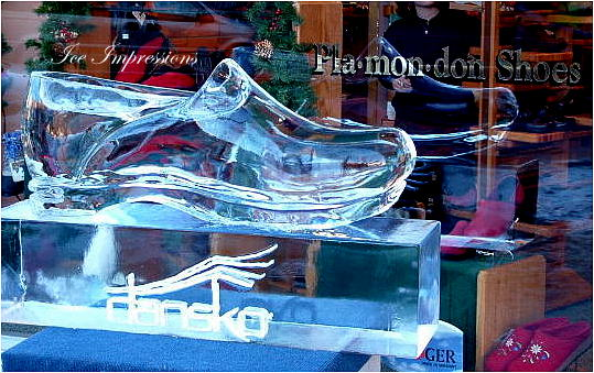 By Ice Impressions, ice-impressions.com, Ice Impressions Custom Ice Sculptures, ice sculptures, ice carving, ice carvings, special event ice sculptures, Custom Ice Carvings, Custom Ice Sculptures, Exhibition Ice Sculptures, Shoe Ice Sculpture, Clog Ice Sculpture.