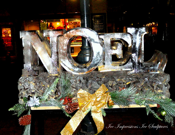 Noel Ice Sculpture, Ice Impressions, Ice Impressions Ice Sculptures, Ice Sculptures, Ice Carvings, Holiday ice Carvings