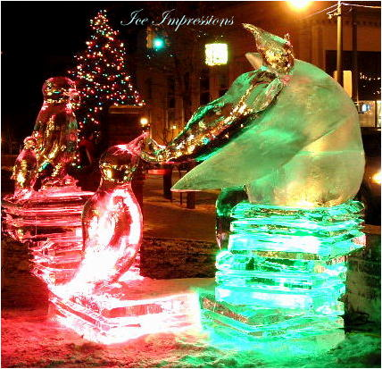 By Ice Impressions, ice-impressions.com, Ice Impressions Custom Ice Sculptures, Penguins, Arctic Penguin Ice Sculptures, ice sculptures, ice carving, ice carvings, special event ice sculptures, Custom Ice Carvings, Custom Ice Sculptures, Exhibition Ice Sculptures.