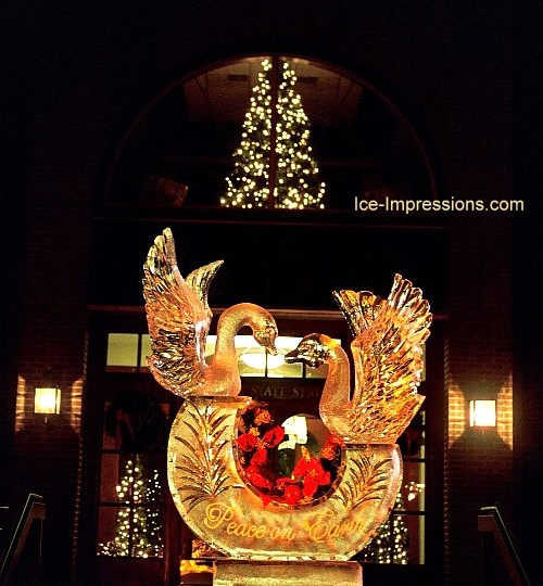 By Ice Impressions, ice-impressions.com, Swan Ice Sculpture, Swan Ice Carving, Swan Ice Carvings, swan ice sculpture, Ice Impressions Custom Ice Sculptures, ice sculptures, ice carving, ice carvings, special event ice sculptures, Custom Ice Carvings, Custom Ice Sculptures, Exhibition Ice Sculptures.