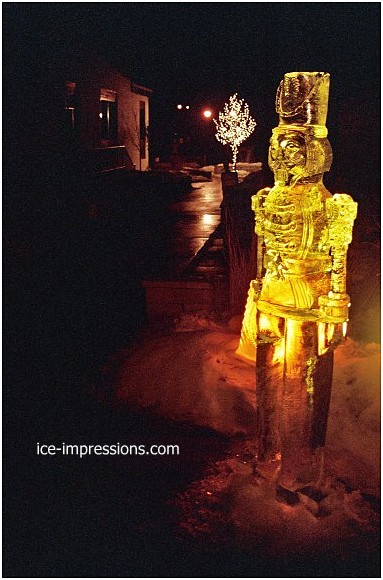 By Ice Impressions, ice-impressions.com, Toy Soldier Ice Sculpture, toy soldier ice sculpture, toy soldier ice carving, Ice Impressions Custom Ice Sculptures, ice sculptures, ice carving, ice carvings, special event ice sculptures, Custom Ice Carvings, Custom Ice Sculptures, Exhibition Ice Sculptures.