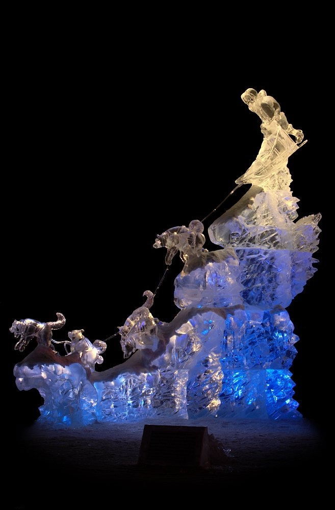 World Ice Art Championships Fairbanks Alaska, Balto's Charge Ice Sculpture, Ice Alaska, Steven Berkshire